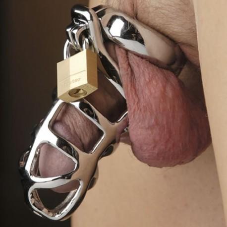 Keuschheitsgürtel und Edelstahl gekrümmte durchbrochene Hoden + Vorhängeschloss Ring