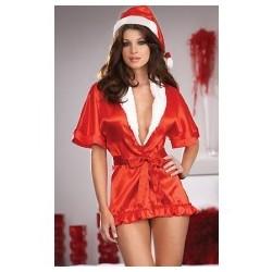 Kimono de satén rojo & gorro de mamá noel