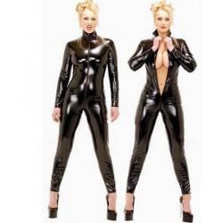 Combinación Catwoman de cuero con cremallera delantera