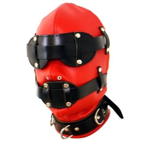 Cagoule en cuir BDSM Rouge & noir - Totale soumission