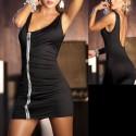 Vestido sexy negro ajustado - Cremallera, espalda al aire