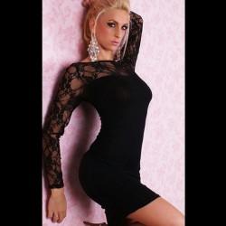 Vestido sexy negro ajustado con encajes