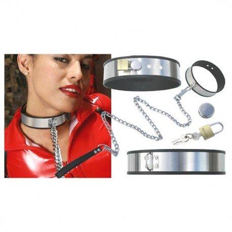 Collar ajustable dominación de acero inoxidable + cadena + candados - SM