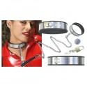 Collar ajustable de dominación de acero inoxidable + cadena + candados - SM