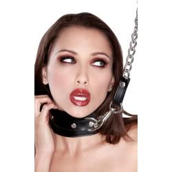 Collar SM cuero con correa y cadena - Dominación / Sumisión