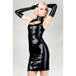 Vestido escote guantes vinilo negro & Slinky sexy