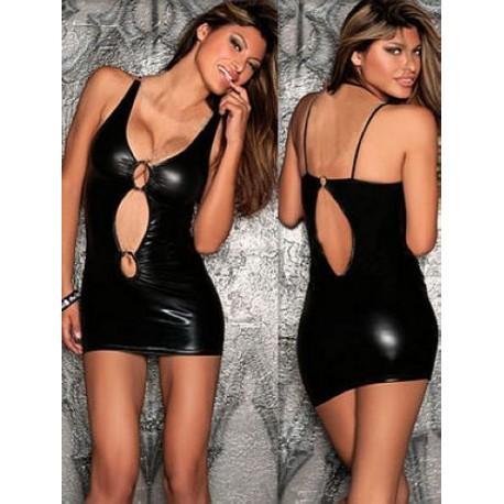 vestido corto wet-look - abierto
