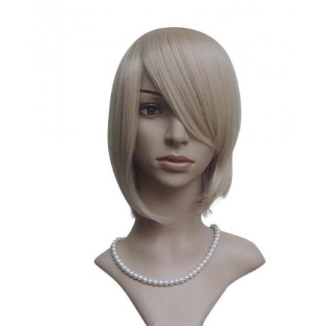 Peluca sexy: Corte media melena rubia con flequillo