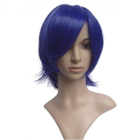 Peluca sexy: Corte media melena azul oscuro con flequillo