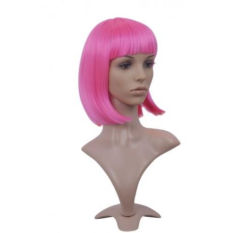 Peluca sexy : Corte a media melena rosa con flequillo