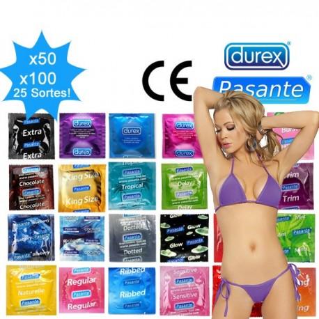 Pack mix - 25 clases condones Durex y Pasante