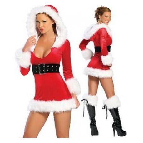 Traje vestido con capucha Navidad madre rojo
