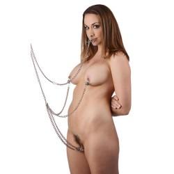 Kit de bondage BDSM: 5 cadenas y pinzas: senos, clítoris, pezones...