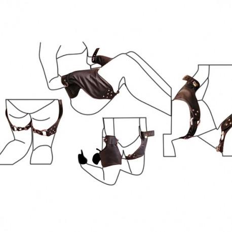 Restricción BDSM bloqueo de manos sobre las piernas
