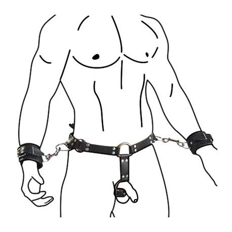 Cinturón de cuero para hombre con esposas