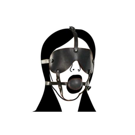 Arnés Gag Ball ancho con máscara en símil cuero