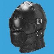 Cagoule SM en cuir avec masque et muselière détachable