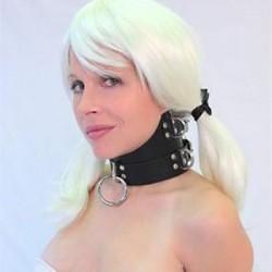 Cuello alto BDSM - Collar de cuero para sumisión