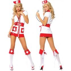 Traje de enfermera sexy, cruz roja