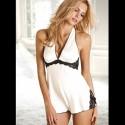 BabyDoll & Camisa de noche : Blanca & encaje negro