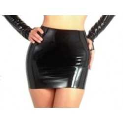 Mini falda de vinilo, latex