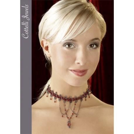 Perlenkette glamourösen rot und grau