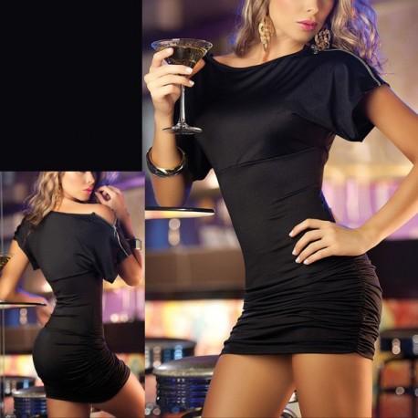 Robe cocktail sexy moulante noire
